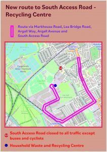 Map of new route to recycling centre